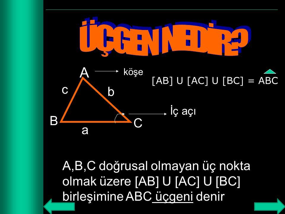 ÜÇGEN NEDİR A. köşe. [AB] U [AC] U [BC] = ABC. c. b. İç açı. B. C. a.